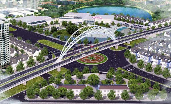 Cầu vượt trên trục đường Hồ Sen - Cầu Rào 2 cách nhà trong ngõ 108 Nguyễn Văn Linh 800m