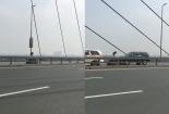 Nữ sinh đi ngược chiều, phóng xe như bay trên cầu Nhật Tân