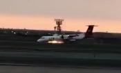 Video: Máy bay đang cất cánh bất ngờ lốp trước cháy dữ dội