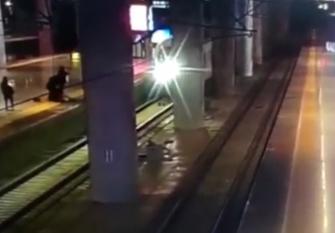 Video: Chàng trai cứu bạn gái thoát chết trước mũi tàu hỏa như phim