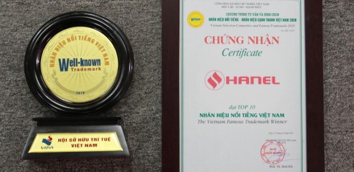 Năm thứ 3 Hanel lọt top 10 nhãn hiệu nổi tiếng Việt Nam