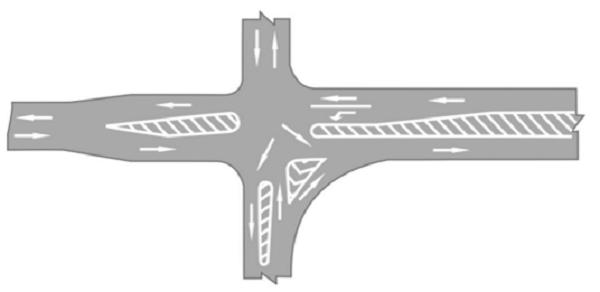 Bố trí kênh hóa dòng xe ở ngã tư phức tạp