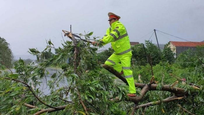 Chùm ảnh: CSGT cắt cây, dọn đường, điều tiết giao thông trong bão số 9 1