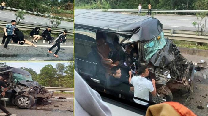 Nóng: Xe Limousine tông đuôi ô tô đầu kéo trên cao tốc, 8 người bị thương 1