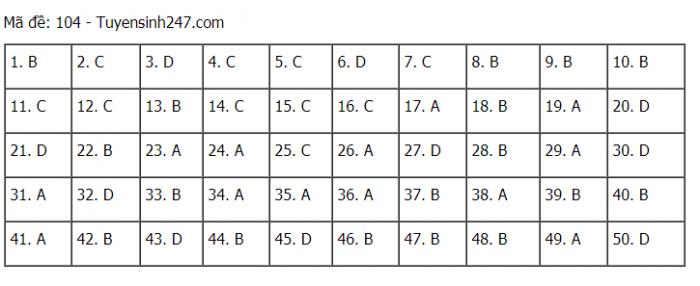 Đáp án môn toán kỳ thi tốt nghiệp thpt 2021 tất cả các mã đề