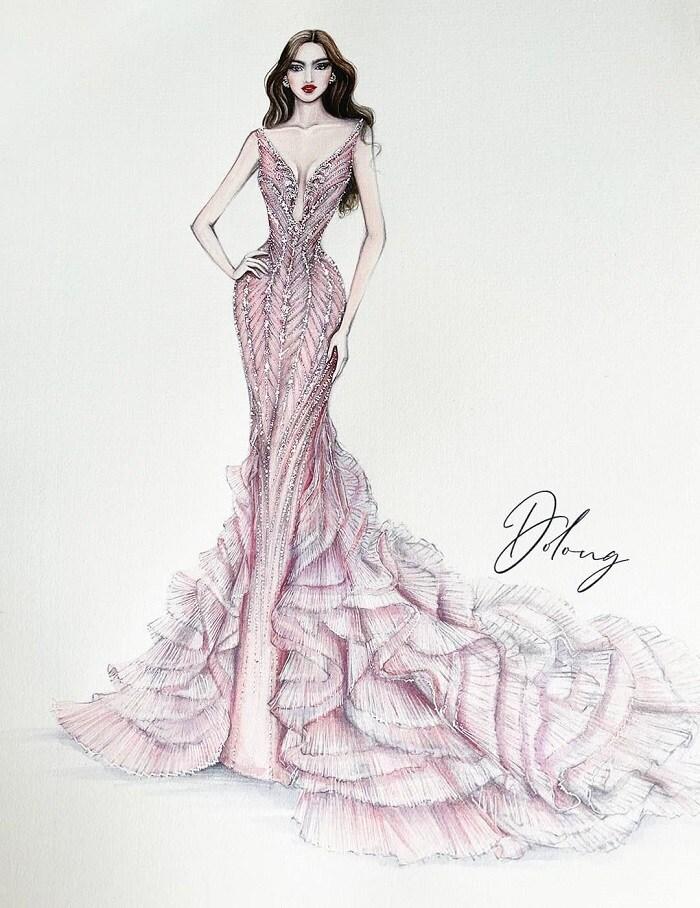 5 thiết kế đầm dạ hội cho Đỗ Thị Hà tại Miss World, dễ khoe chân dài 4